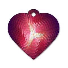 Fractal Red Sample Abstract Pattern Background Dog Tag Heart (one Side)