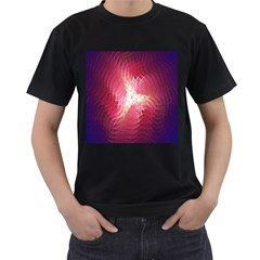 Fractal Red Sample Abstract Pattern Background Men s T Shirt (black)