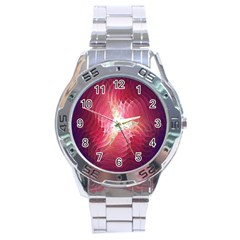 Fractal Red Sample Abstract Pattern Background Stainless Steel Analogue Watch