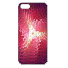 Fractal Red Sample Abstract Pattern Background Apple Seamless Iphone 5 Case (clear)