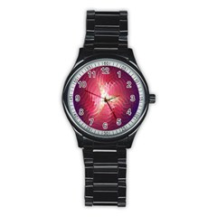 Fractal Red Sample Abstract Pattern Background Stainless Steel Round Watch