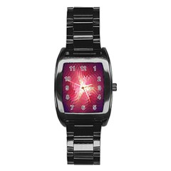 Fractal Red Sample Abstract Pattern Background Stainless Steel Barrel Watch