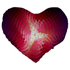 Fractal Red Sample Abstract Pattern Background Large 19  Premium Flano Heart Shape Cushions