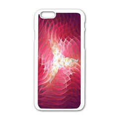 Fractal Red Sample Abstract Pattern Background Apple Iphone 6/6s White Enamel Case
