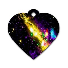 Galaxy Deep Space Space Universe Stars Nebula Dog Tag Heart (two Sides)