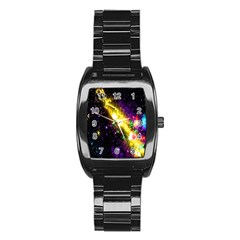 Galaxy Deep Space Space Universe Stars Nebula Stainless Steel Barrel Watch