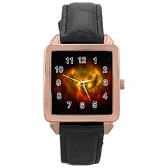 Galaxy Nebula Space Cosmos Universe Fantasy Rose Gold Leather Watch