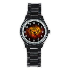 Galaxy Nebula Space Cosmos Universe Fantasy Stainless Steel Round Watch