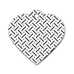 Geometric Pattern Dog Tag Heart (two Sides)