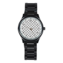 Geometric Pattern Stainless Steel Round Watch