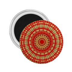 Gold And Red Mandala 2 25  Magnets
