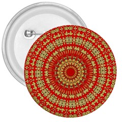 Gold And Red Mandala 3  Buttons