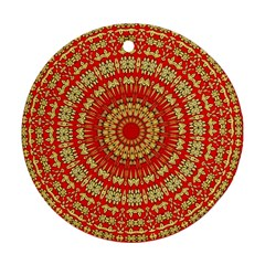 Gold And Red Mandala Ornament (round)