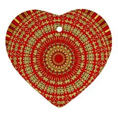 Gold And Red Mandala Ornament (Heart)