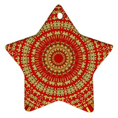 Gold And Red Mandala Ornament (Star)