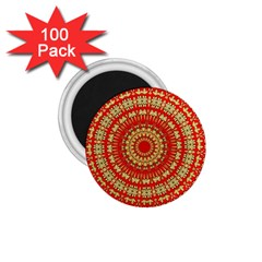 Gold And Red Mandala 1 75  Magnets (100 Pack)