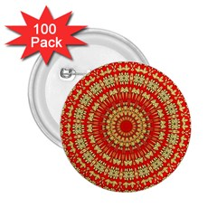 Gold And Red Mandala 2 25  Buttons (100 Pack)