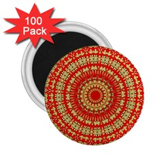 Gold And Red Mandala 2 25  Magnets (100 Pack)