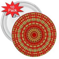 Gold And Red Mandala 3  Buttons (10 Pack)