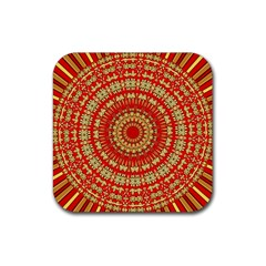 Gold And Red Mandala Rubber Square Coaster (4 Pack)