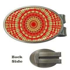 Gold And Red Mandala Money Clips (oval)