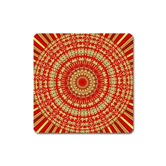 Gold And Red Mandala Square Magnet