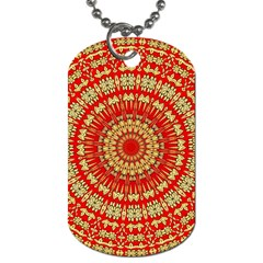 Gold And Red Mandala Dog Tag (one Side)