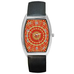 Gold And Red Mandala Barrel Style Metal Watch