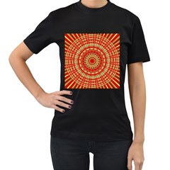 Gold And Red Mandala Women s T Shirt (black) (two Sided)