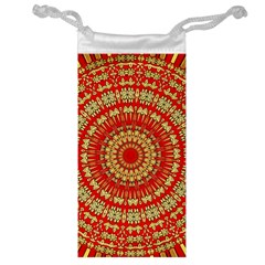 Gold And Red Mandala Jewelry Bag