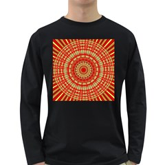 Gold And Red Mandala Long Sleeve Dark T Shirts