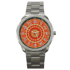 Gold And Red Mandala Sport Metal Watch