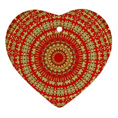 Gold And Red Mandala Heart Ornament (two Sides)