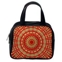 Gold And Red Mandala Classic Handbags (one Side)