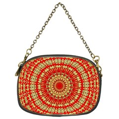 Gold And Red Mandala Chain Purses (one Side)