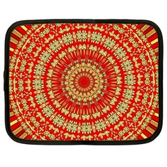 Gold And Red Mandala Netbook Case (XXL)