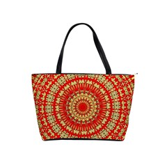 Gold And Red Mandala Shoulder Handbags