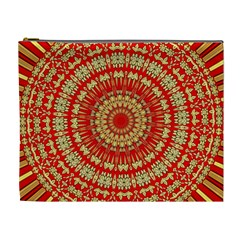 Gold And Red Mandala Cosmetic Bag (xl)