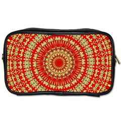 Gold And Red Mandala Toiletries Bags 2 Side