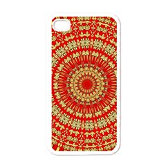 Gold And Red Mandala Apple Iphone 4 Case (white)