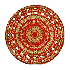 Gold And Red Mandala Round Filigree Ornament (two Sides)