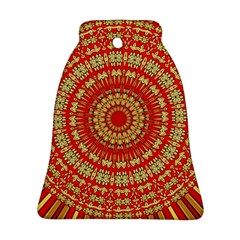 Gold And Red Mandala Bell Ornament (two Sides)