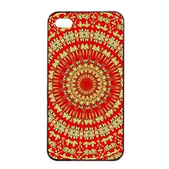 Gold And Red Mandala Apple Iphone 4/4s Seamless Case (black)