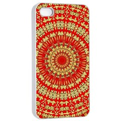 Gold And Red Mandala Apple Iphone 4/4s Seamless Case (white)