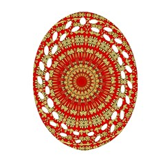 Gold And Red Mandala Ornament (oval Filigree)