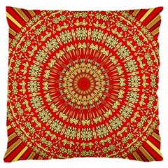 Gold And Red Mandala Large Cushion Case (two Sides)