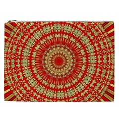 Gold And Red Mandala Cosmetic Bag (xxl)