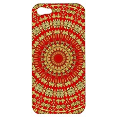Gold And Red Mandala Apple Iphone 5 Hardshell Case