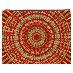 Gold And Red Mandala Cosmetic Bag (xxxl)