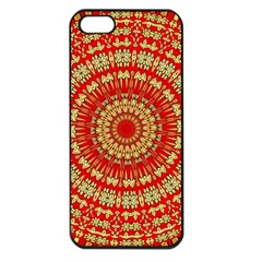 Gold And Red Mandala Apple Iphone 5 Seamless Case (black)